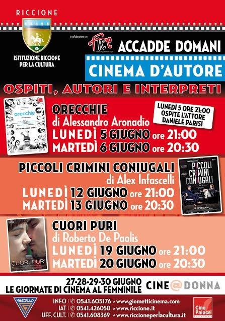 RICCIONE CINEMA D'AUTORE e FICE E.R: rassegna di film italiani e ospiti