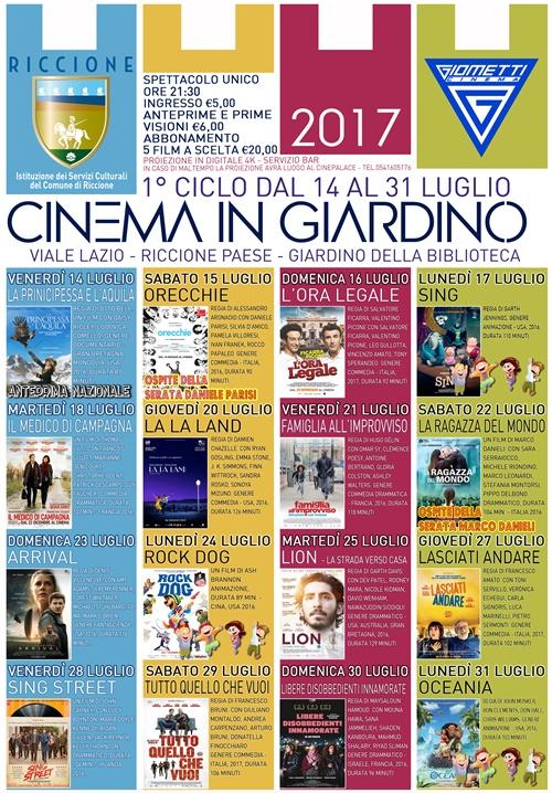 RICCIONE CINEMA IN GIARDINO- luglio 2017